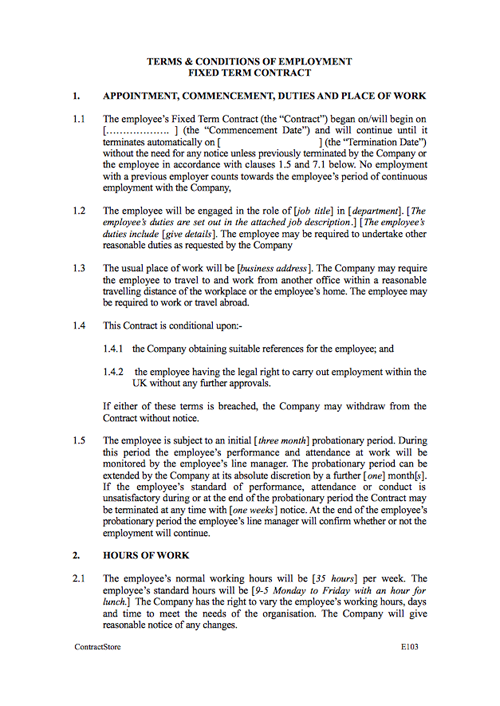 Fixed Short Term Employment Contract Template Contractstore