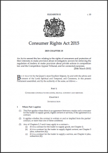 The new Consumer Rights Act will come into force in October 2015