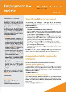 Newsletter from Moore Blatch employment lawyers