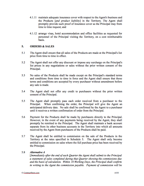 Agency Agreement Template Favouring Principal | ContractStore