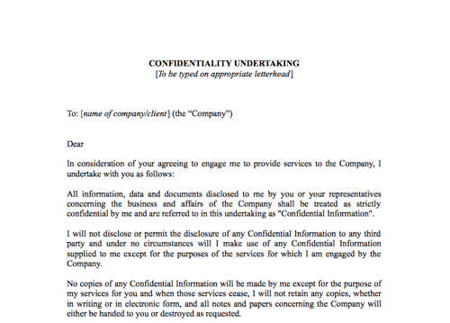 Confidentiality Undertaking Confidentiality Agreement
