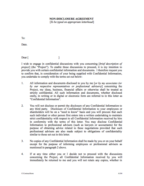 Non Disclosure Agreement Template Nda Template Uk