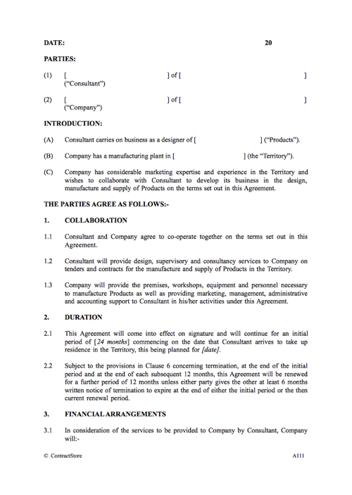 Consultancy Agreement Template When Working In Another Country – Consulting Agreement Template