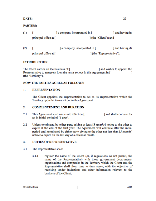 Representation Agreement Tendering Contract For Business