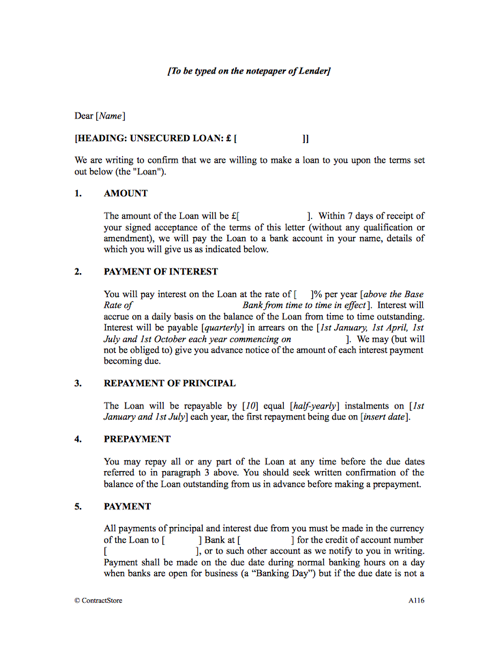 Loan Agreement Form Template to an individual – Private Loan Agreement Template