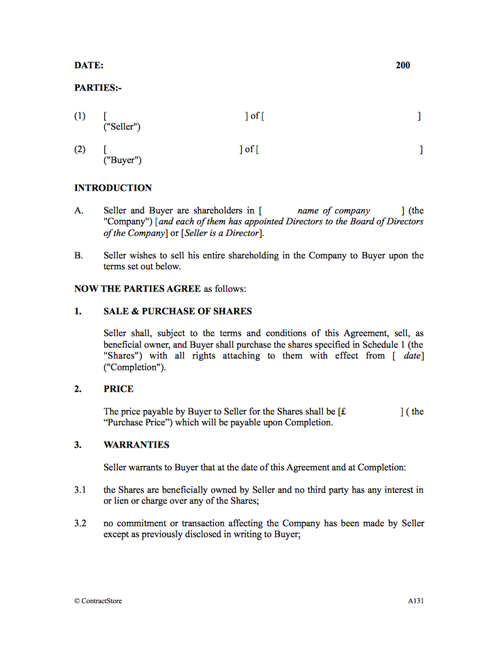 Sale Of Share Agreement Template To Another Shareholder