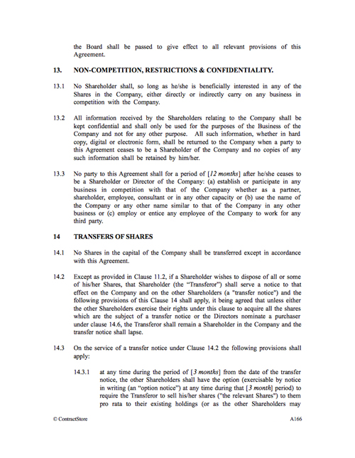 Shareholders Agreement Template Contractstore