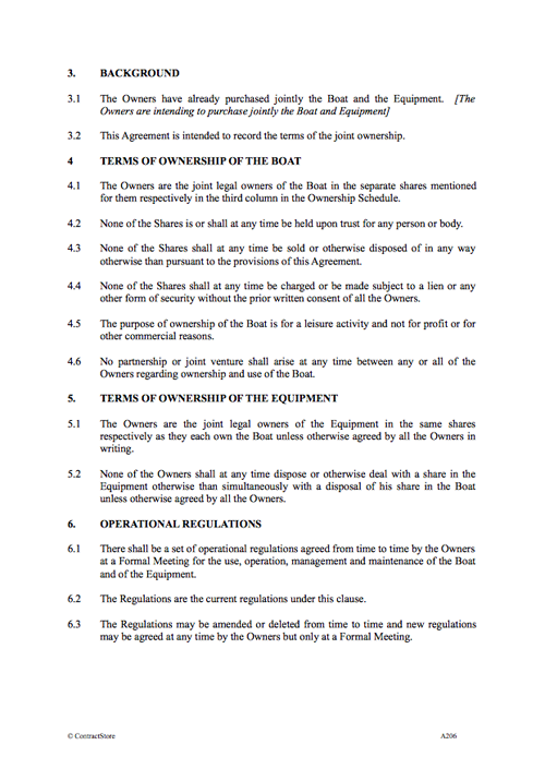 Boat Ownership Agreement Contract