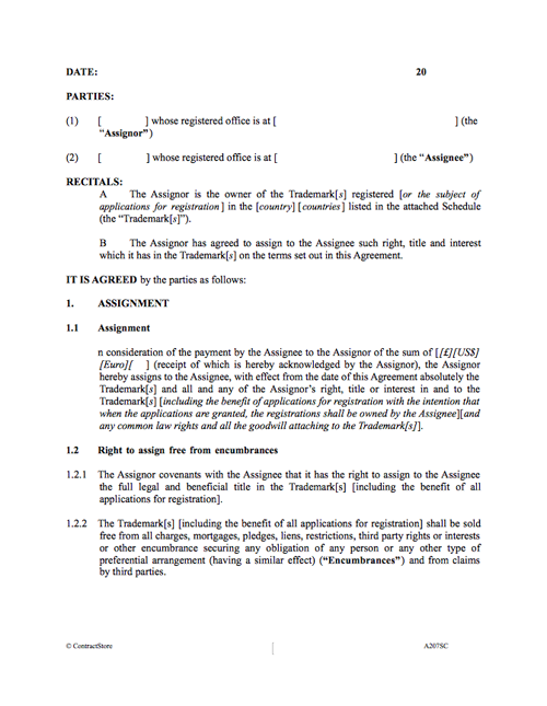 Trademark Assignment Contract Template