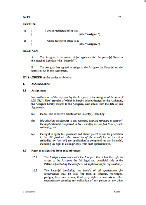 Patent Assignment Contract Template