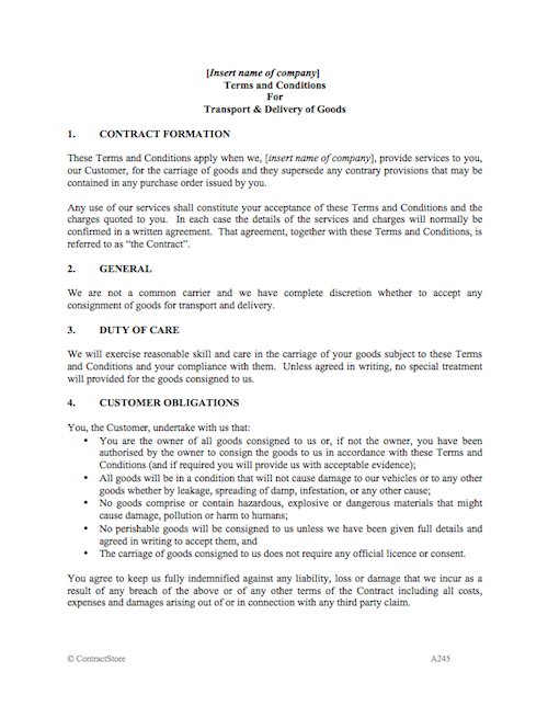 duty of care agreement