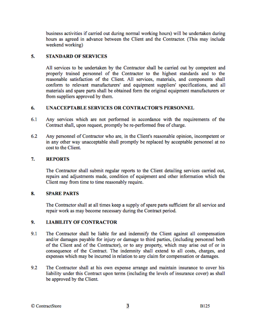 Maintenance Service Provision Agreement Template Contractstore