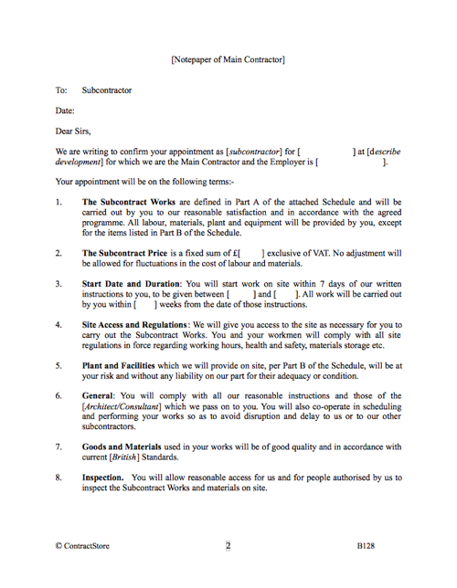 Subcontractor Contract Template | Letter Format | ContractStore
