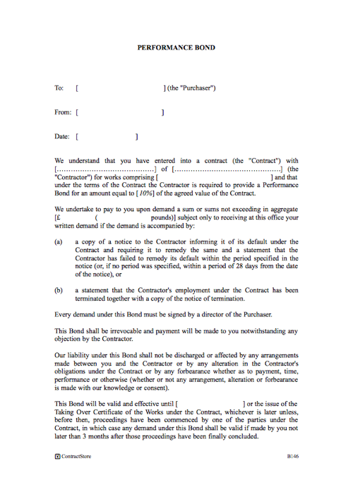 Performance bond template contractstore for B b contract