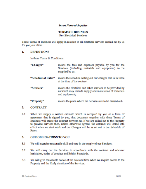 Electrician Contract Terms of Business Template