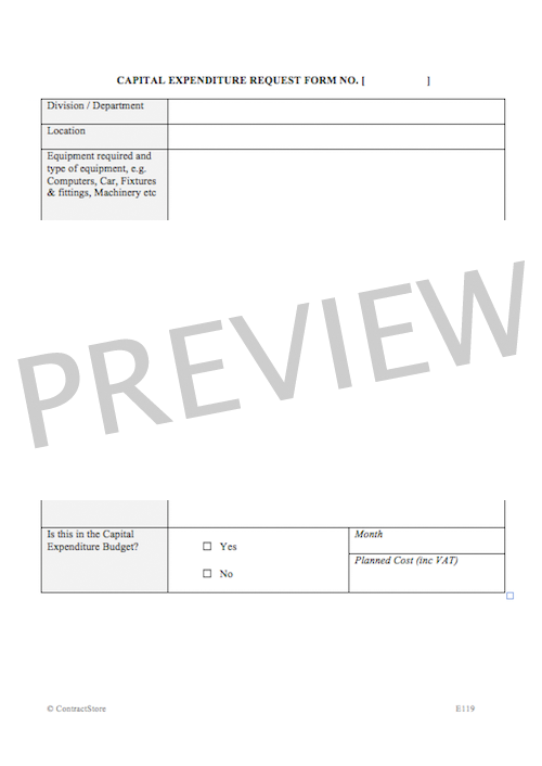 Capital Expenditure Request Form E119