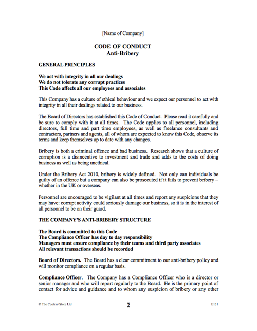 Bribery Act Code Of Conduct Contractstore