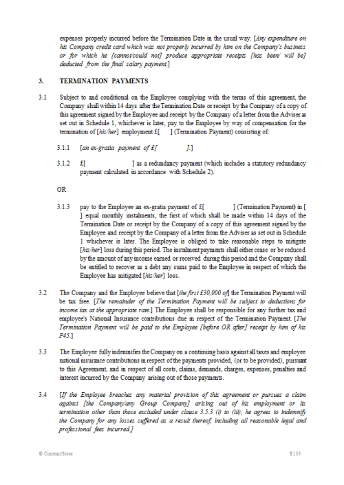 Employee Compromise Agreement Template