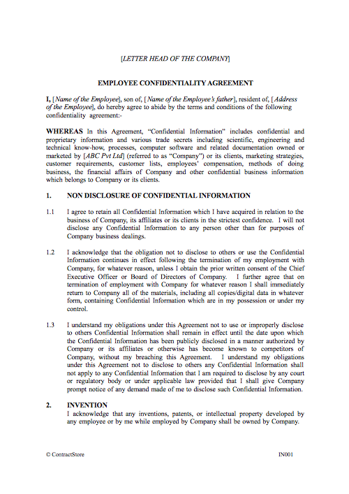Employee Confidentiality Agreement Indian