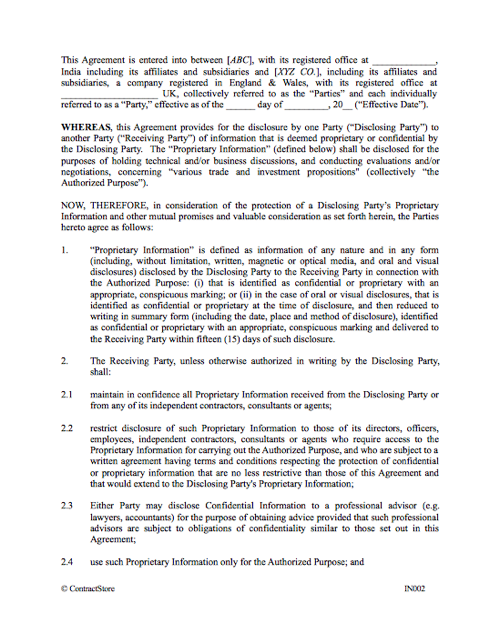Non Disclosure Agreement Template Contractstore