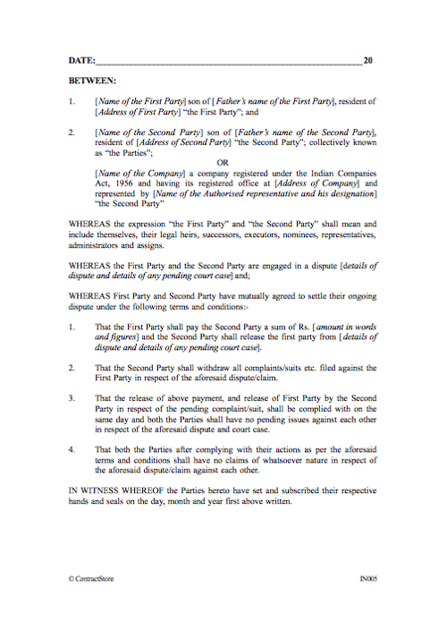 settlement of dispute  u0026 release agreement