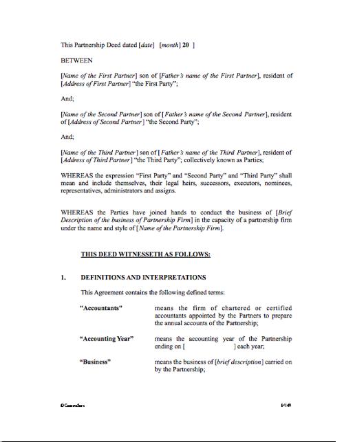Partnership Agreement (India)
