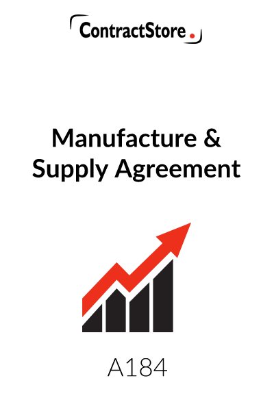 Manufacture Amp Supply Agreement Template Contractstore