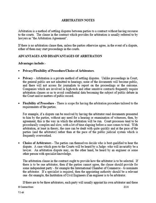 Arbitration Notes