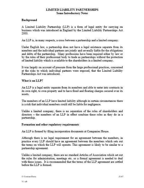 Limited Liability Partnership - introductory notes